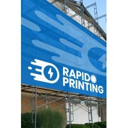 Impression banderole publicitaire sur bâche micro-perforée 330g résistante au vent pour echafaudage