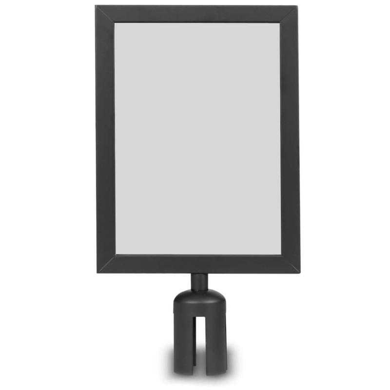 Porte affiche A4 2 faces noir pour barrière sangle