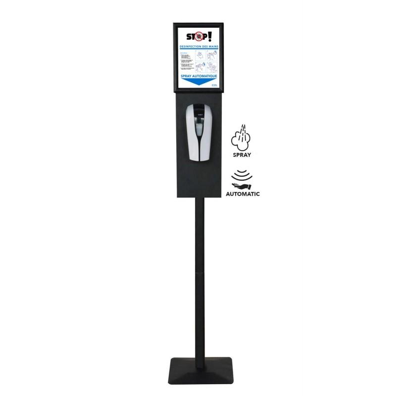 Distributeur gel hydro alcoolique automatique sur pied avec porte affiche A4