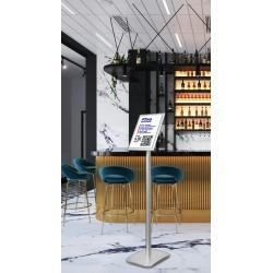 Porte affiche QR Code application Tous Anti Covid sur pied pour bar et restaurant