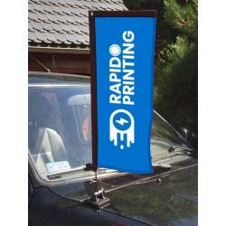 Drapeau beach flag fixation magnétique publicité concession automobile voiture